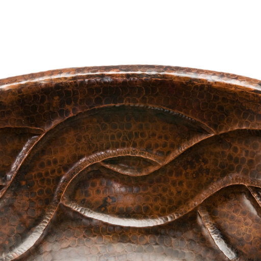 View a Larger Image of Oval Braid Self Rimming Hammered Copper Sink