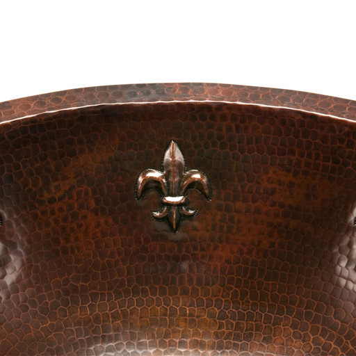 View a Larger Image of Oval Fleur De Lis Under Counter Hammered Copper Sink