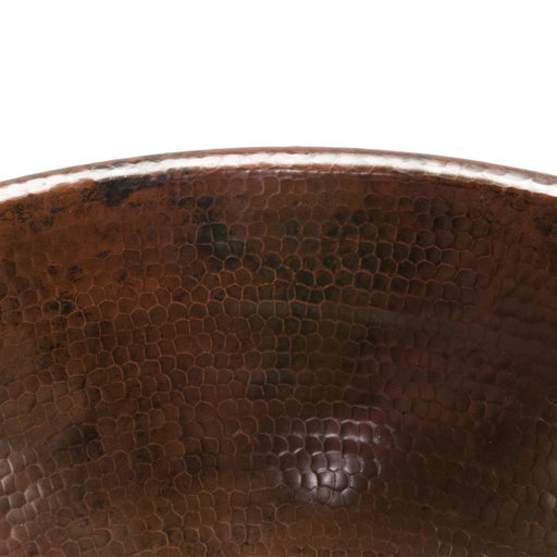 View a Larger Image of Oval Self Rimming Hammered Copper Sink