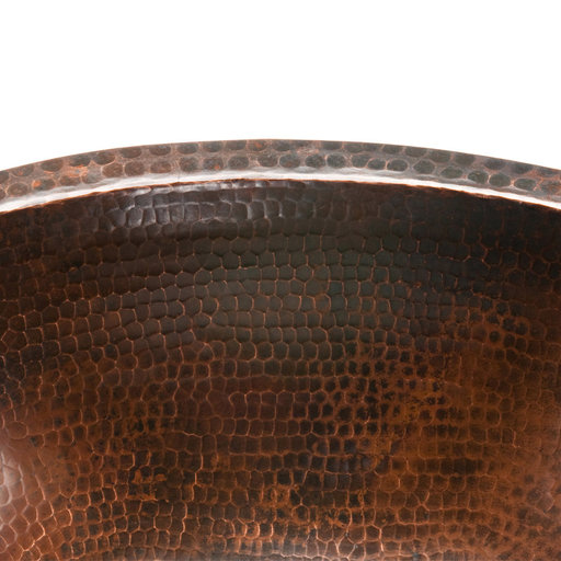 View a Larger Image of Oval Under Counter Hammered Copper Bathroom Sink