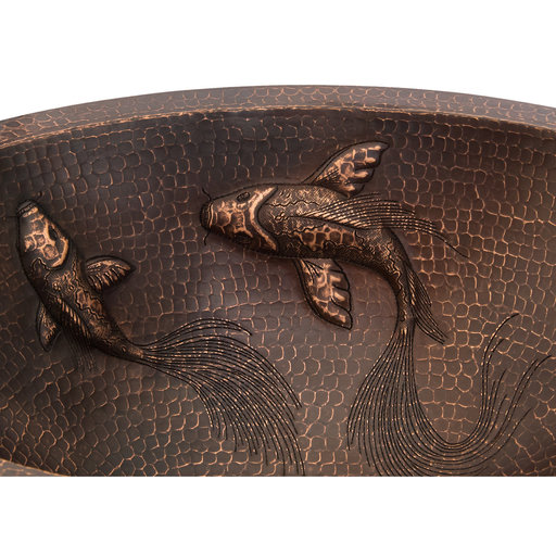 View a Larger Image of Oval Under Counter Hammered Copper Bathroom Sink with Two Small Koi Fish Design