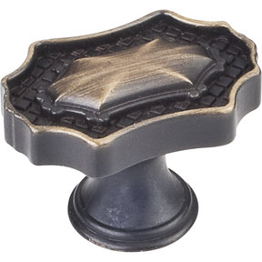 "Padua Knob, 1-9/16"" O.L.,, Antique Brushed Satin Brass"
