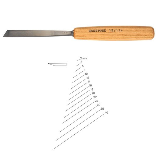 View a Larger Image of #1 Sweep Single Bevel Skew Chisel 2 mm Full Size