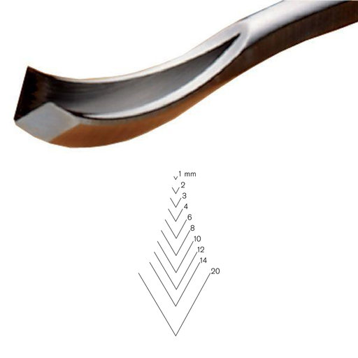 View a Larger Image of #12 Sweep Bent V-Parting Tool, 3 mm, Full Size