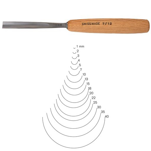 View a Larger Image of #9 Sweep Gouge 3 mm, Full Size