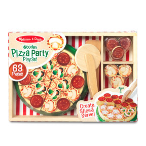 Pizza Party Wooden Play Food, Pretend Play Pizza Set, Self-Sticking Tabs, 54+ Pieces, 1.8″ H × 9″ W × 13.3″ L