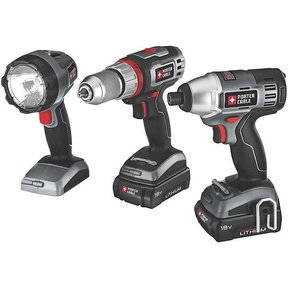 Porter-Cable 18V Lithium 3 Tool Combo Kit, Model PCL318IDC-2