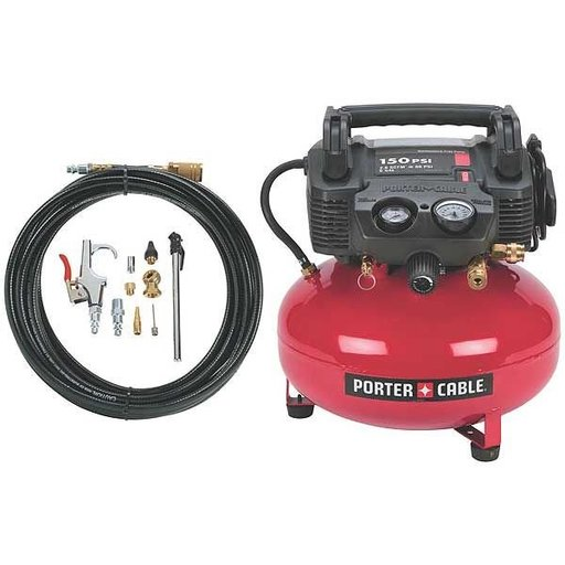 View a Larger Image of Porter-Cable Oil-Free Pancake Compressor, 150 PSI, 6 Gallon, with accessory kit, Model C2002-WK