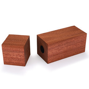 """Pre-Drilled African Mahogany Peppermill Blank 3"""" x 3"""" x 9"""""""