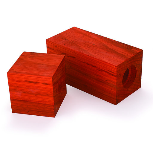 "View a Larger Image of Padauk 3"" x 3"" x 9"" Pre-Drilled Peppermill Blank"