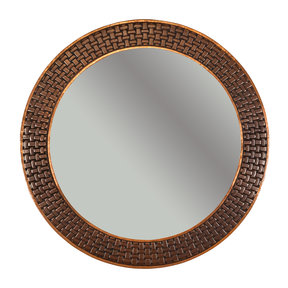 "34"" Hand Hammered Round Mirror with Decorative Braid Design"