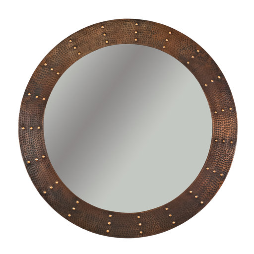 "View a Larger Image of 34"" Hand Hammered Round Mirror with Hand Forged Rivets"
