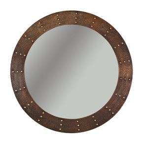 "34"" Hand Hammered Round Mirror with Hand Forged Rivets"