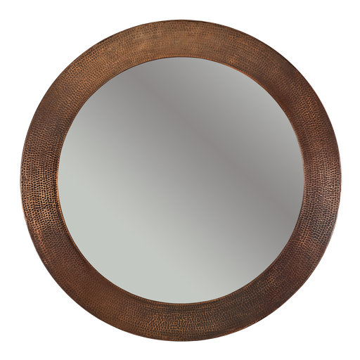 "View a Larger Image of 34"" Hand Hammered Round Mirror"
