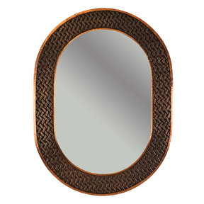"35"" Hand Hammered Oval Mirror with Decorative Braid Design"