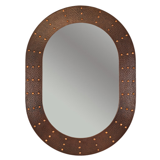 """View a Larger Image of 35"""" Hand Hammered Oval Mirror with Hand Forged Rivets"""