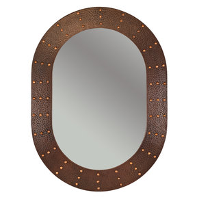 "35"" Hand Hammered Oval Mirror with Hand Forged Rivets"