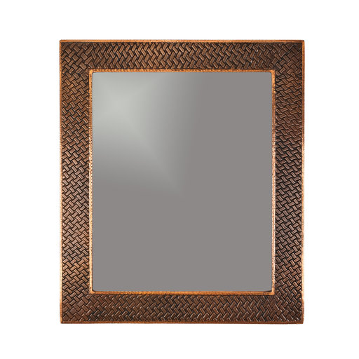"View a Larger Image of 36"" Hand Hammered Rectangle Mirror with Decorative Braid Design"