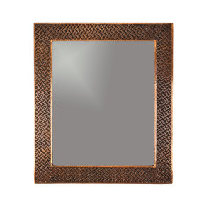 "36"" Hand Hammered Rectangle Mirror with Decorative Braid Design"