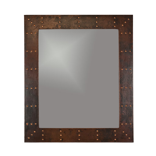 "View a Larger Image of 36"" Hand Hammered Rectangle Mirror with Hand Forged Rivets"