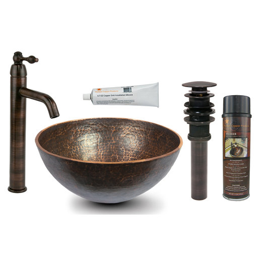 View a Larger Image of 13 inch Round Hand Forged Old World Copper Vessel Sink, Faucet and Accessories Package, Oil Rubbed Bronze