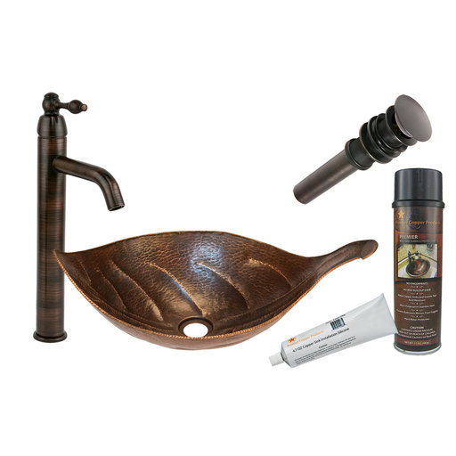 View a Larger Image of Leaf Vessel Hammered Copper Sink, Faucet and Accessories Package, Oil Rubbed Bronze