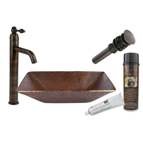 Premier Copper Products - BSP1_PVMRECDB Vessel Sink, Faucet and Accessories Package