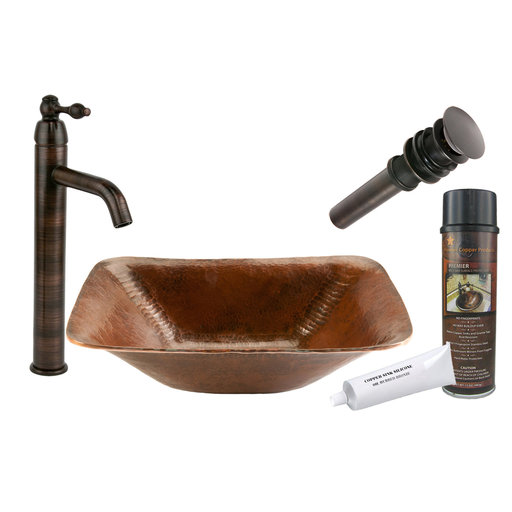 View a Larger Image of Premier Copper Products - BSP1_PVREC17 Vessel Sink, Faucet and Accessories Package