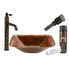 Premier Copper Products - BSP1_PVREC17 Vessel Sink, Faucet and Accessories Package