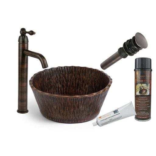 View a Larger Image of Premier Copper Products - BSP1_PVRTRDB Vessel Sink, Faucet and Accessories Package