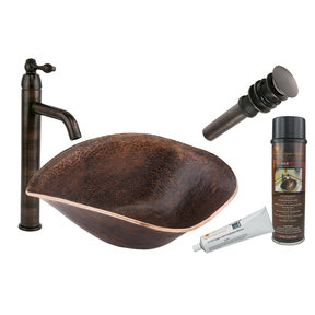 Premier Copper Products - BSP1_PVSHELL17 Vessel Sink, Faucet and Accessories Package