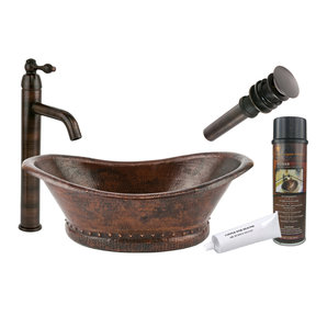 Bath Tub Vessel Hammered Copper Sink, Faucet and Accessories Package, Oil Rubbed Bronze