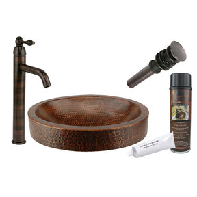 Premier Copper Products - BSP1_VO17SKDB Vessel Sink, Faucet and Accessories Package