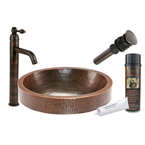 Oval Skirted Vessel Hammered Copper Sink, Faucet and Accessories Package, Oil Rubbed Bronze