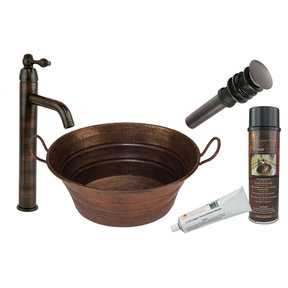 Premier Copper Products - BSP1_VOB16DB Vessel Sink, Faucet and Accessories Package
