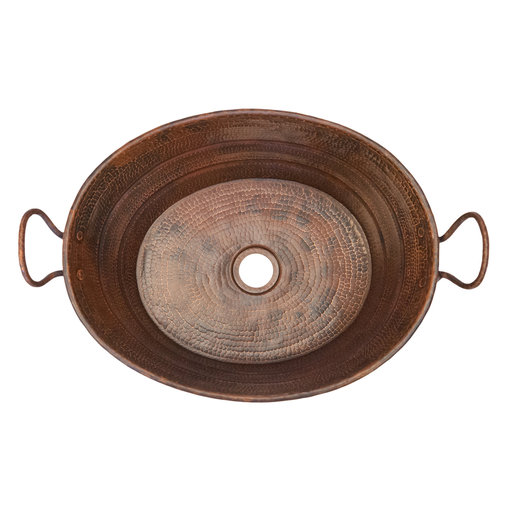 View a Larger Image of Oval Bucket Vessel Hammered Copper Sink with Handles, Faucet and Accessories Package, Oil Rubbed Bronze