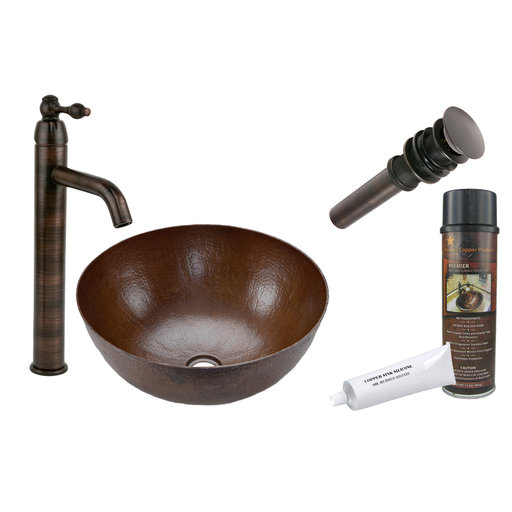 View a Larger Image of Small Round Vessel Hammered Copper Sink, Faucet and Accessories Package, Oil Rubbed Bronze