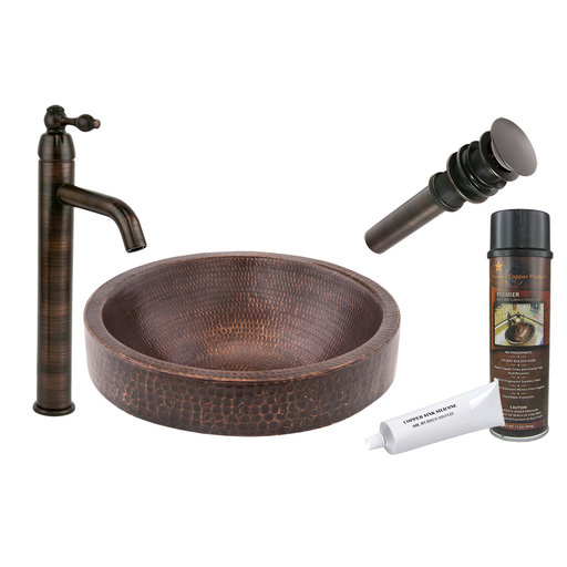 View a Larger Image of Premier Copper Products - BSP1_VR15SKDB Vessel Sink, Faucet and Accessories Package