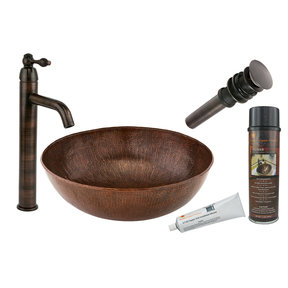 Large Round Vessel Hammered Copper Sink, Faucet and Accessories Package, Oil Rubbed Bronze