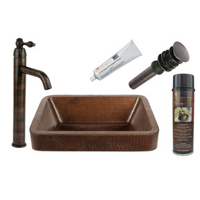 Premier Copper Products - BSP1_VREC17SKDB Vessel Sink, Faucet and Accessories Package