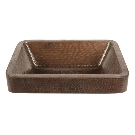 View a Larger Image of 17 inch Rectangle Skirted Vessel Hammered Copper Sink, Faucet and Accessories Package, Oil Rubbed Bronze