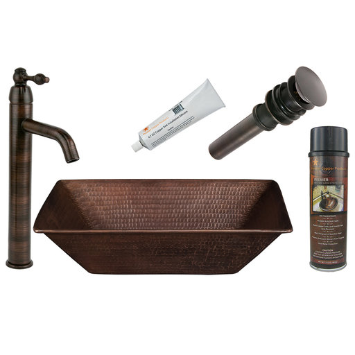 View a Larger Image of Premier Copper Products - BSP1_VREC17WDB Vessel Sink, Faucet and Accessories Package