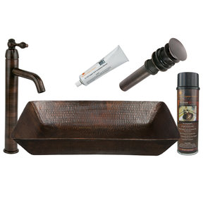 Premier Copper Products - BSP1_VREC2014DB Vessel Sink, Faucet and Accessories Package