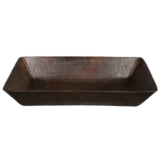 View a Larger Image of 20 inch Rectangle Vessel Hammered Copper Sink, Faucet and Accessories Package, Oil Rubbed Bronze