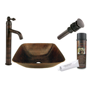 Premier Copper Products - BSP1_VSQ14BDB Vessel Sink, Faucet and Accessories Package