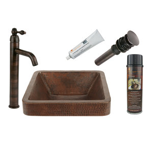 Premier Copper Products - BSP1_VSQ15SKDB Vessel Sink, Faucet and Accessories Package
