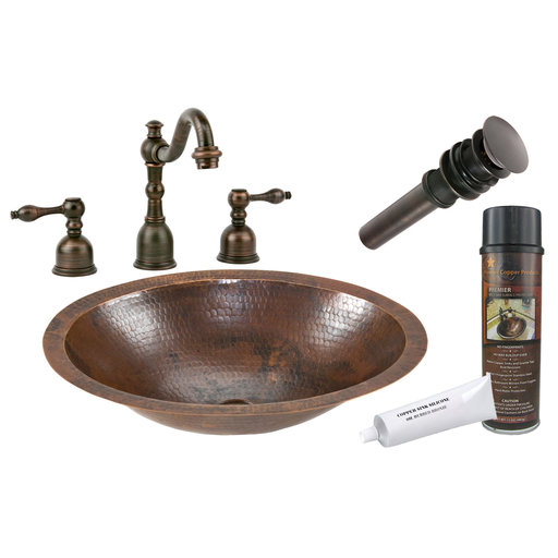 View a Larger Image of Small Oval Under Counter Hammered Copper Sink, Faucet and Accessories Package, Oil Rubbed Bronze