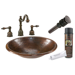 Small Oval Self Rimming Hammered Copper Sink, Faucet and Accessories Package, Oil Rubbed Bronze