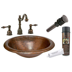Premier Copper Products - BSP2_LO18RDB Bathroom Sink, Faucet and Accessories Package