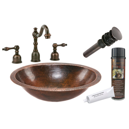 View a Larger Image of Premier Copper Products - BSP2_LO19FDB Bathroom Sink, Faucet and Accessories Package
